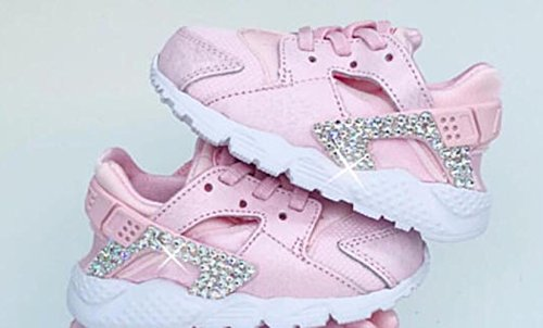 Nike Huarache RUn SE Prism Pink, Baby Huarache, Baby girl Nikes, Nikes for girls, Toddler huarache, Pink Huarache, Swarovski Nike shoes by AllureDesignz
