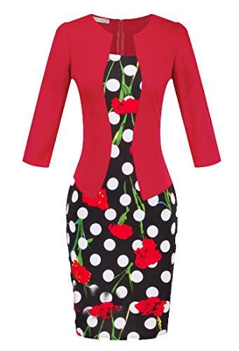Cromoncent Femmes Manches 3/4 Moulante Imprimé Faux Deux Robe Bureau Crayon Travail Red5