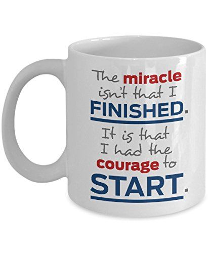 The Courage To Start Running Quote Coffee & Tea Gift Mug for a Long Distance Marathon Runner