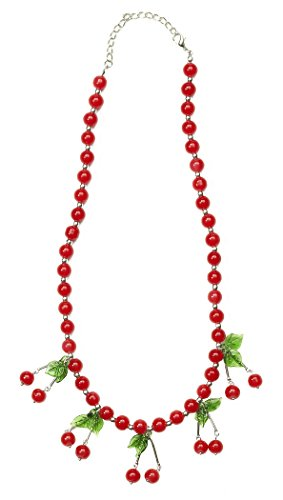 Pin Up Girl For Halloween (Forum Novelties Women's Retro Rock Novelty Cherry Necklace, Multi, One Size)