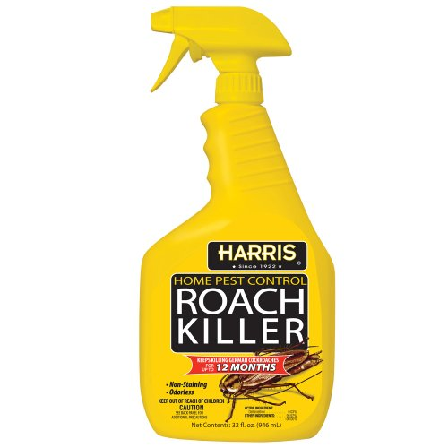 Harris Roach Killer, Liquid Spray with Odorless and Non-Staining 12-Month Extended Residual Kill Formula (32oz) - Roach Killer Spray