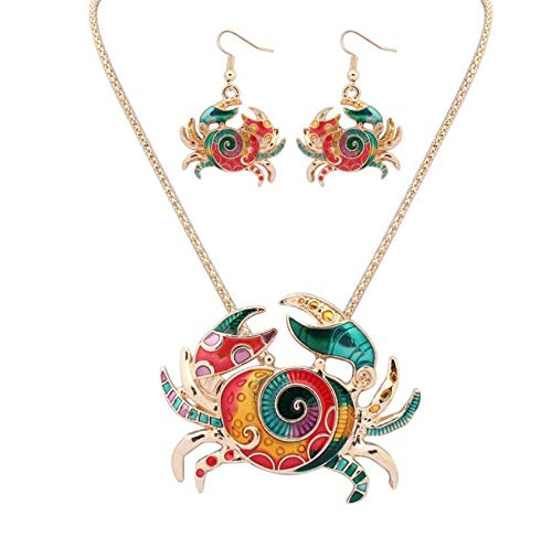 Bohemia Choker Necklace for Girls Children Kids Enamel Cartoon Fashion Drops Oil Rainbow Horse Elephant Hippocampus Jewelry Necklace Set Valentine's Day, Children's Gifts (Crab) ()