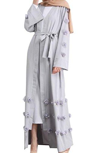 Coolred Muslim Grey Women Overcoat Dress Pure Colour Islamic Tunic Open OgvwSqO