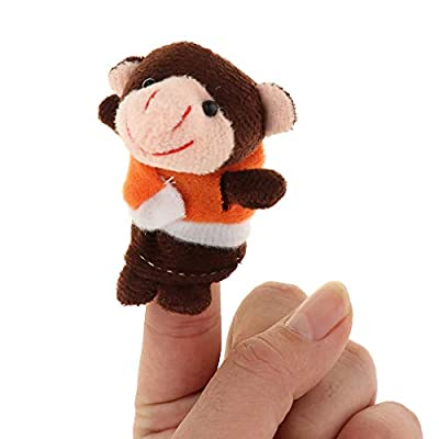 Fityle 7 Pieces Story Time Finger Puppets Set - Soft Plush Puppets - 5 Little Monkeys, 1 Mommy Monkey and 1 Doctor Monkey: Toys & Games