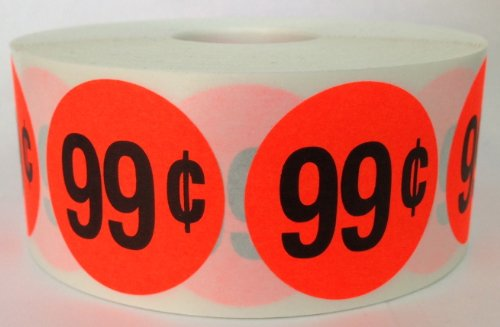 1 Roll of 1000 1.5 inch Round BRIGHT RED $.99 Retail Price Point Labels Stickers