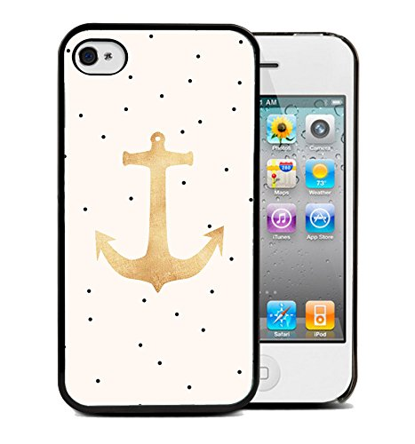 Coque silicone BUMPER souple IPHONE 4/4s - Ancre marine anchor motif 1 DESIGN case+ Film de protection OFFERT