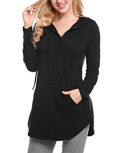 Unibelle Womens Long Sleeve Button Collar Basic Pullover T-Shirt Hoodies Sweatshirt (Hooded Pullover Shirt)