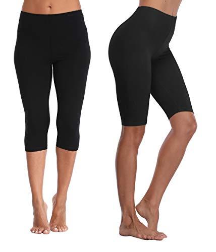 Kotii Women's Lightweight Soft Capri Leggings Crop Leggings 3/4 Stretch Yoga Pants, Black(2pack,crop Leggings and Shorts), ()