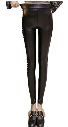296ce597fe63 chenshijiu Women Stretch Slim Rivet High Waisted Skinny Faux PU Leather  Leggings Pencil Pants Black XS