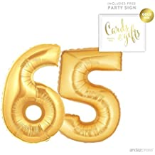 Andaz Press Giant Gold Helium Foil Balloon Party Kit with Sign, Jumbo 40-inch, Number 65, Metallic Gold Shiny Mylar, 1-Pack, Includes Free Party Sign!, 65th Birthday Party Decor Decorations