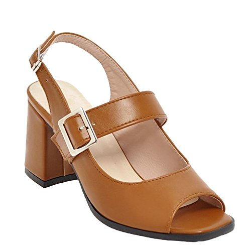 Carolbar Womens Buckle Peep Toe Slingback Party High Heel Sandals Brown VKUPBf