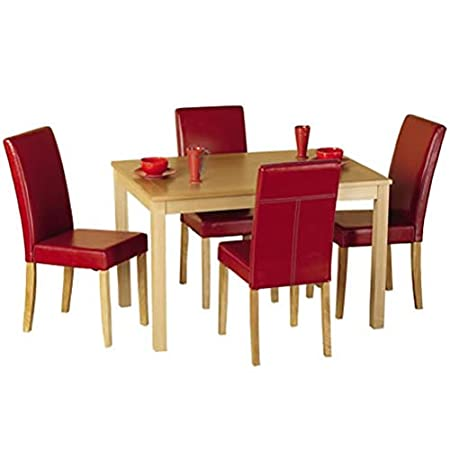 WorldStores 4 Red Faux Leather Chairs And Oak Table   Oakmere Dining Room  Set   Wooden