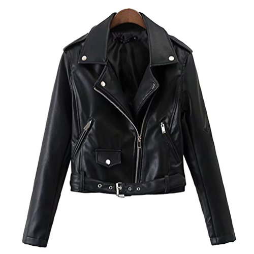 Jitong Mujeres Chaqueta de Imitacion Cuero Biker Abrigos Moto Cazadoras con Cremallera Jackets Negro