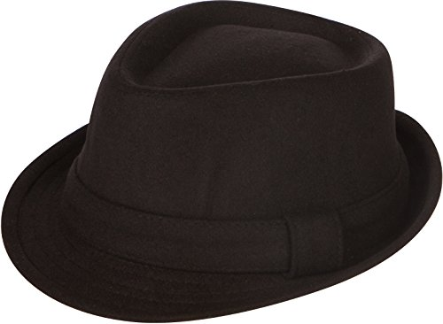 EHA5033FM - Sakkas Unisex Structured Wool Fedora Winter Hat ( 3 Colors ) - Black/L/XL - Pinstripe Wool Hat