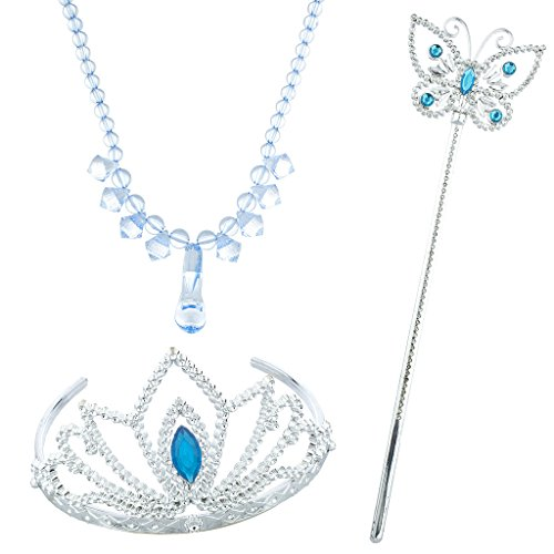 Blue Ice Princess Costume (Lux Accessories Silver Tone Blue Halloween Ice Frozen Princess Costume Set 3PC)