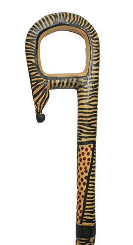 Wood Mens Walking Canes Hand Carved African Wild Animal Print Wooden Walking Stick 5 X 36 X 1.5 Inches Brown