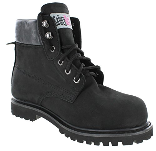 Safety+Girl+CSGBOTW1000032438-BLK-ST-10.5W+Sheep+Skin+Lined+Women%27s+Work+Boots%2C+Toe+Size+10.5W%2C+Black