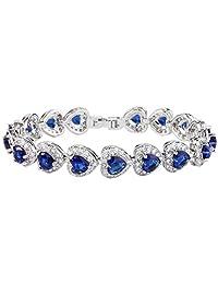 Ever Faith Women's Full Zircon Elegant Heart-shaped Roman Tennis Bracelet Royal Blue Silver-Tone