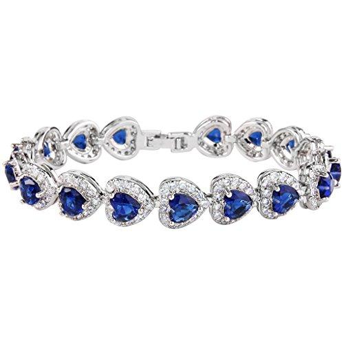 Faith Heart Bracelet (EVER FAITH Women's Full Zircon Elegant Heart-shaped Roman Tennis Bracelet Royal Blue Silver-Tone)