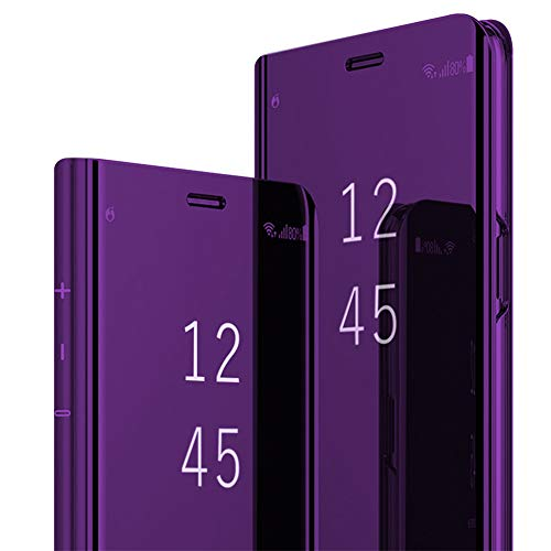 Samsung Galaxy S8/S8 Plus Mirror Case Metal Flip Stand Phone Cover Full Anti-Scratch Resistant Protective Case for Samsung S8 (Samsung Galaxy S8, Purple)