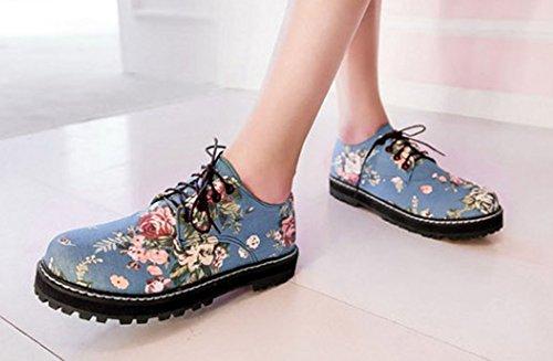Lace Shoes Floral Sfnld Womens Pumps Light Low Up Cut Blue ZxwFnE1qP