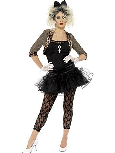 Smiffys Women's 80's Wild Child Costume, Jacket, Top, Tutu, Leggings Gloves and Headband, Back to the 80's, Serious Fun, Size 10-12, 36233 -