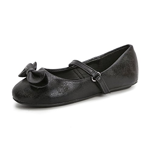 Hawkwell Mary Jane Bow Ballerina Flat (Toddler/Little Kid/Big Kid),Black PU,7 M -