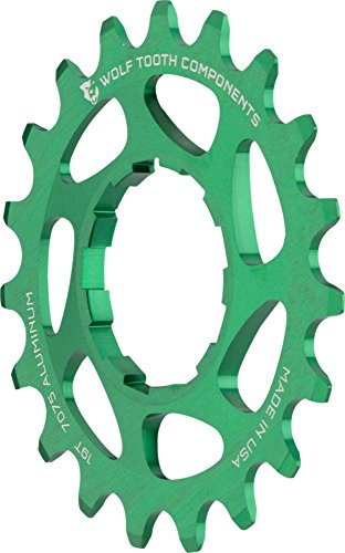 "Wolf Tooth Components Single Speed Aluminum Cog: 19T, Compatible with 3/32"" Chains, Green"