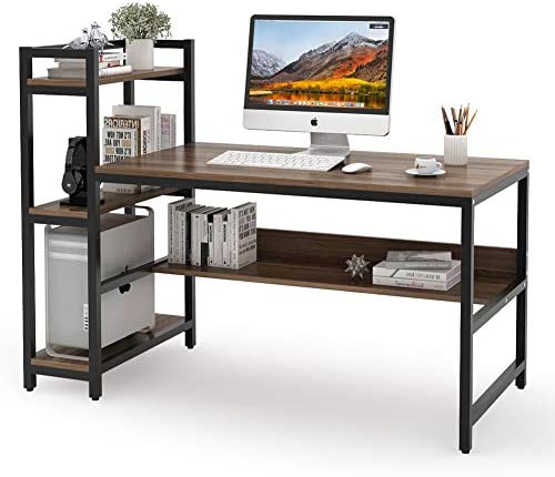 Tribesigns Computer Desk with 4-Tier Storage Shelves, 60 inch Modern Large Office Desk Computer Table Studying Writing Desk Workstation with Bookshelf and Tower Shelf for Home Office Dark Walnut