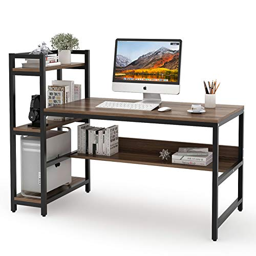 Tribesigns Computer Desk with 4-Tier Storage Shelves, 60 inch Modern Large Office Desk Computer Table Studying Writing Desk Workstation with Bookshelf and Tower Shelf for Home Office (Dark Walnut) -