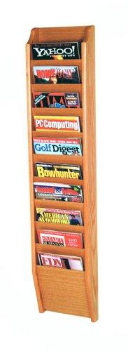 Wooden Mallet 10-Pocket Cascade Magazine Rack, Light Oak