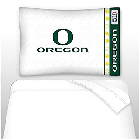 King Sports Coverage NCAA Oregon Ducks Micro Fiber Sheet Set White