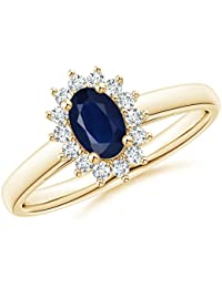 Princess Diana Inspired Blue Sapphire Ring with Diamond Halo (6x4mm Blue Sapphire)