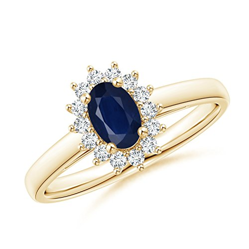 Princess Diana Inspired Blue Sapphire Ring with Diamond Halo in 14K Yellow Gold (6x4mm Blue Sapphire) (14k 6x4mm Oval Sapphire Ring)