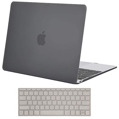 MOSISO Plastic Hard Shell Case & Keyboard Cover Compatible MacBook 12 Inch Retina Display Model A1534 (Newest Version 2017/2016/2015), Gray