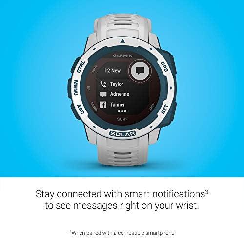 Garmin Instinct Solar Surf, Solar-Powered Rugged Outdoor Smartwatch with Tide Data and Dedicated Surfing Activity, Cloudbreak