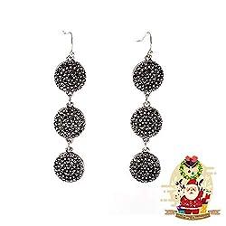 Shiny Black Rhinestone Dangle Earrings