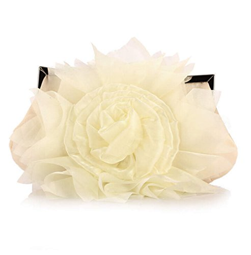Party Big Satins Clutch Evening Wedding Silks Bags Bag Cream Black Women Rose Romatic and xHBB1q
