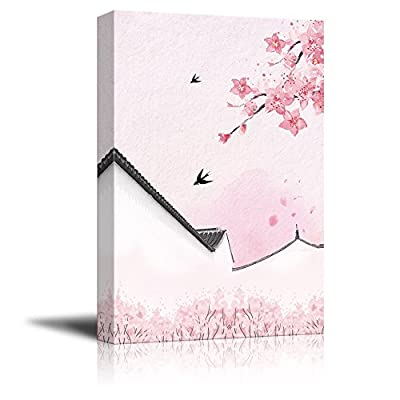Classic Design, Dazzling Object of Art, Traditional Chinese Style Painting of Pink Cherry Blossom and Birds with Acient Wall in Spring