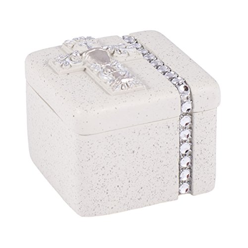 Roman First Holy Communion Silver Chalice 2 x 2 Inch Resin Stone Keepsake Rosary Jewelry Box