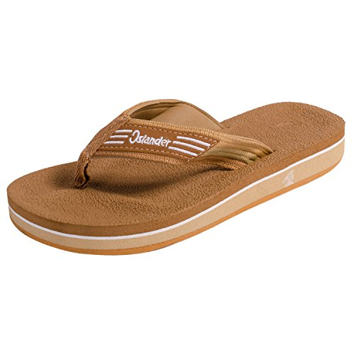 (Islander Unisex All-Weather Comfortable and Stylish Flip-Flop Sandals - Brown - M7/W9)