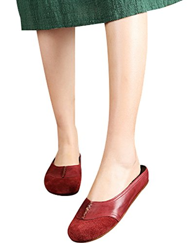 Schuhe Slip 1 Style Rot Frühling on Leder Sommer Youlee Damen Hausschuhe qZxHaw0w