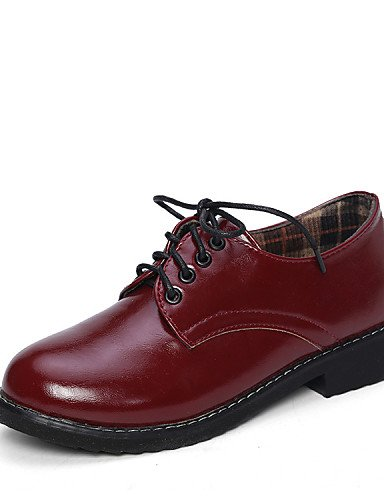 Oxfords Bajo red 5 cn39 Redonda Punta uk6 Casual Rojo mujer cn37 red 5 de Negro Tacón 7 cn39 Semicuero uk6 us8 us8 eu37 Zapatos ZQ eu39 red us6 5 uk4 eu39 7wS0aIx