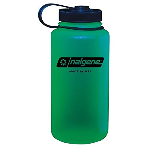 Nalgene Tritan Wide Mouth BPA-Free Water Bottle, Glows Green, One Size