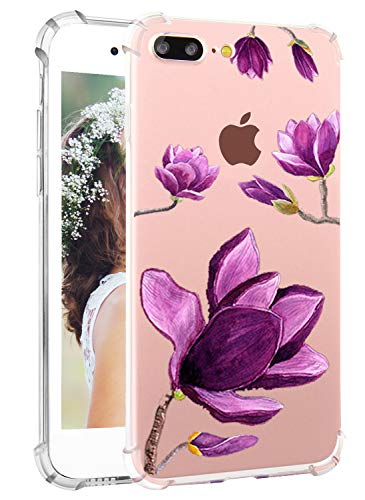 [Upgraded] iPhone 8 Plus Case, Clear iPhone 7 Plus Case, Hepix Purple Magnolia Watercolor Flower Floral Print Soft Flexible TPU Back Cover[5.5 inch]