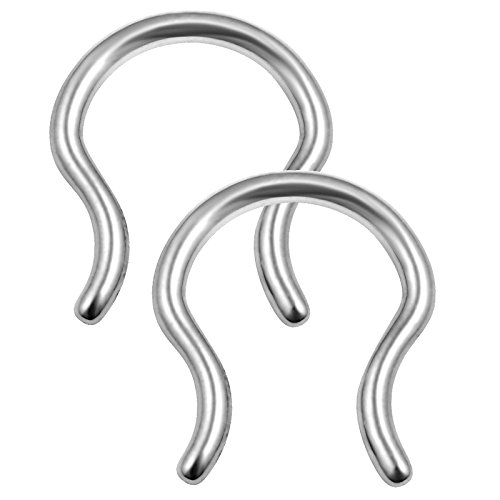 2pcs 16g 5/16 Septum Retainer Hanger Piercing Bell U Shaped Staple 316L Surgical Steel Nose Jewelry - ()