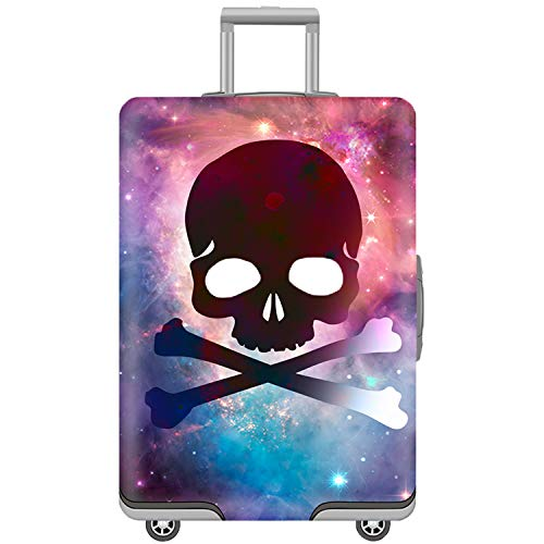 Washable Spandex Luggage Bag Cover Protector Fits 22/23/24 Suitcase Sleeve Skull Print Design With Luggage Strap Belt Size M