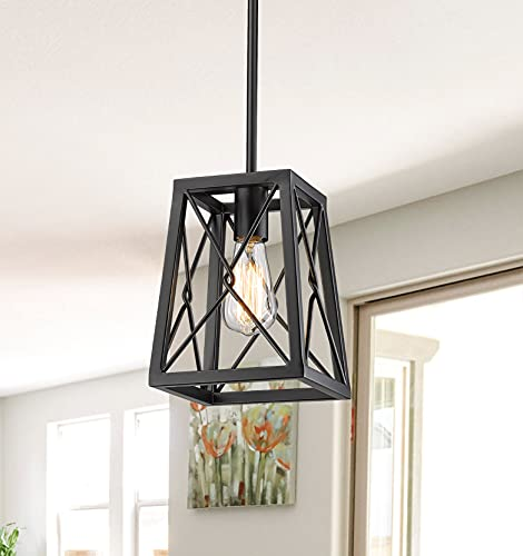 YEEHOME 7 Inches Farmhouse Pendant Light,1-Light Metal Wire Cage Hanging Lantern, Black Modern Pendant Light Fixture for…