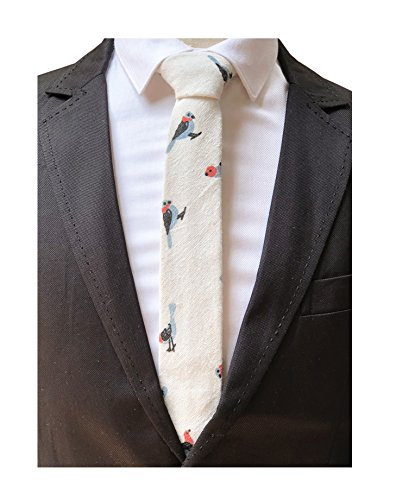 Men's Ivory white Tie Blue Bird Spring Party Wedding Woven Silk Necktie Son Gift