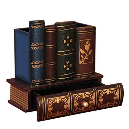 (SODIAL Multifunction Retro Wooden Pen Holder Book Shape Wood Craft Home Decor Pencil Desktop Storage Box Drawers Stationery Holder Gift)